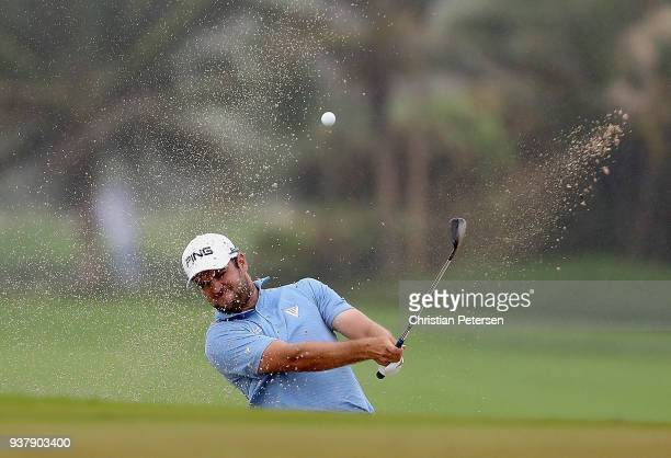 Corey Conners of Canada plays his shot on the 18th hole during the finall round of the Corales Puntacana Resort Club Championship on March 25 2018 in...