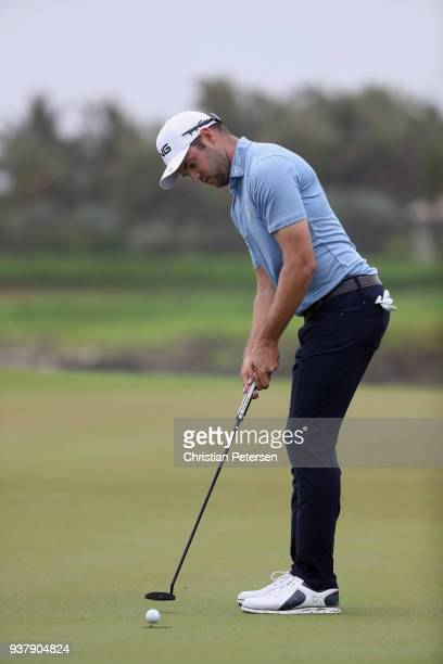 Corey Conners of Canada putts on the 18th hole during the finall round of the Corales Puntacana Resort Club Championship on March 25 2018 in Punta...