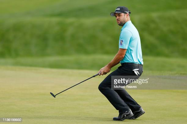 Corey Conners of Canada reacts after a putt on the second green during the third round of The PLAYERS Championship on The Stadium Course at TPC...