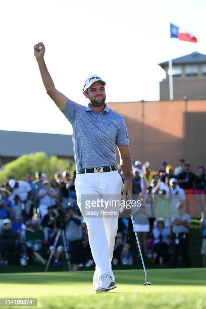 Corey Conners of Canada reacts on the 18th green after winning the 2019 Valero Texas Open at TPC San Antonio Oaks Course on April 07 2019 in San...