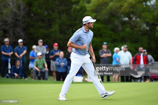 Corey Conners of Canada reacts to a birdie on the 12th green during the final round of the 2019 Valero Texas Open at TPC San Antonio Oaks Course on...