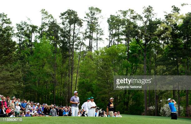 Corey Conners of Canada tees off on the No 12 Hole during Practice Round 1 for the Masters at Augusta National on Monday April 6 2015