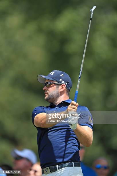 Corey Conners of Canada watches his tee shot on the 11th hole during the second round of the World Golf ChampionshipFedEx St Jude Invitational on...