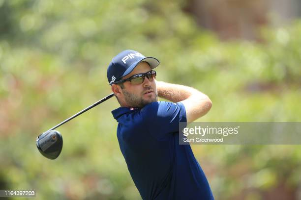 Corey Conners of Canada watches his tee shot on the 16th hole during the second round of the World Golf ChampionshipFedEx St Jude Invitational on...