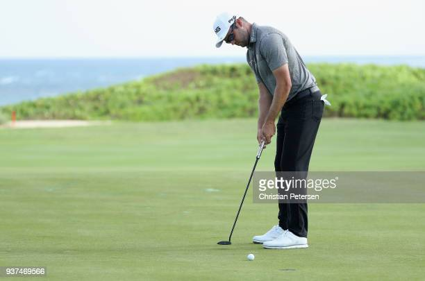 Corey Conners of Canda putts on the 17th green during round three of the Corales Puntacana Resort Club Championship on March 24 2018 in Punta Cana...