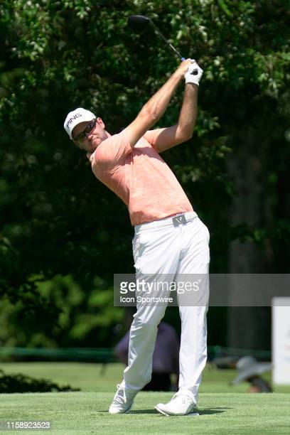 Corey Conners plays his shot from the seventh tee during the final round of the World Golf Championships FedEx St Jude Invitational on July 28 2019...