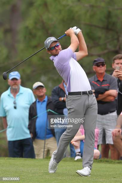 Corey Conners tees off at the sixth hole during the third round of the Valspar Championship on March 10 at Westin Innisbrook-Copperhead Course in...