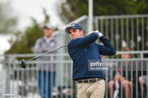 Corey Conners tees off during the third round of the Valero Texas Open at the TPC San Antonio Oaks Course in San Antonio TX on April 21 2018