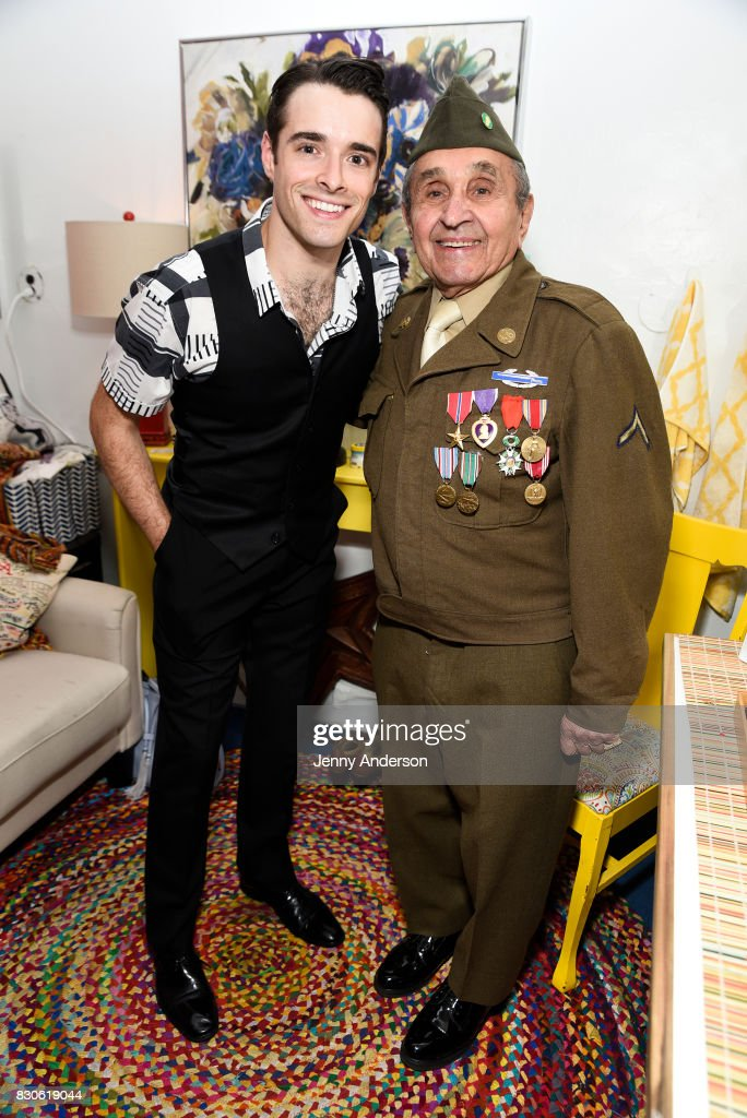 Corey Cott and decorated Battle of the Bulge Purple Heart recipient 93 year old Luke Gasparre backstage at 'Bandstand' on Broadway at Bernard Jacobs Theater on August 11, 2017 in New York City.