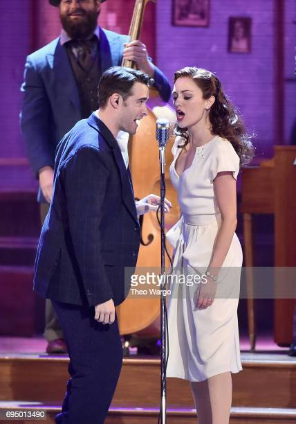 Corey Cott and Laura Osnes perform with the cast of 'Bandstand' onstage during the 2017 Tony Awards at Radio City Music Hall on June 11 2017 in New...