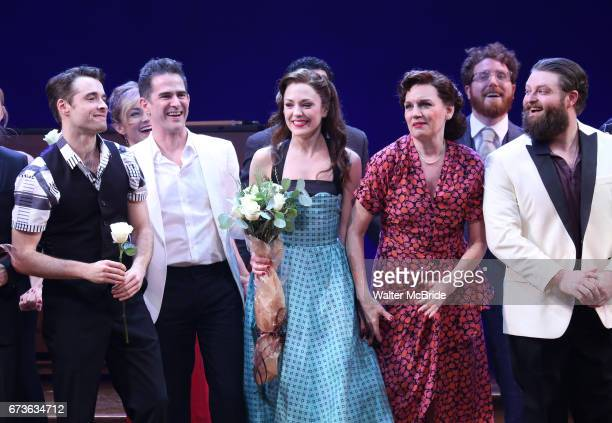 Corey Cott Andy Blankenbuehler Laura Osnes Beth Leavel and cast during the Broadway opening night curtain call bows of 'Bandstand' at the Bernard B...
