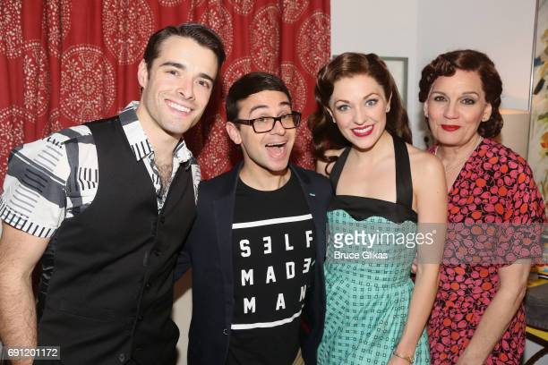 Corey Cott Christian Siriano Laura Osnes and Beth Leavel pose backstage at hit musical 'Bandstand' on Broadway at The Jacobs Theatre on June 1 2017...
