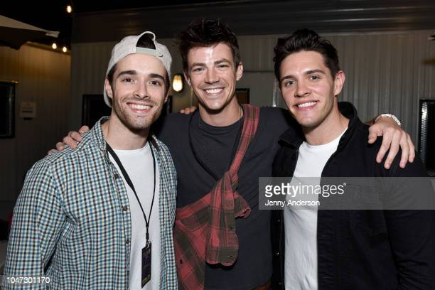 Corey Cott Grant Gustin and Casey Cott attend the 4th Annual Elsie Fest Broadway's Outdoor Music Festival at Central Park SummerStage on October 7...