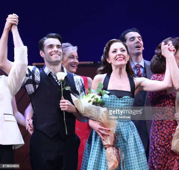 Corey Cott Laura Osnes and cast during the Broadway opening night curtain call bows of 'Bandstand' at the Bernard B Jacobs Theatre on 4/26/2017 in...