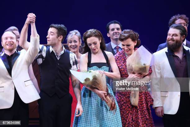 Corey Cott Laura Osnes Beth Leavel and cast during the Broadway opening night curtain call bows of 'Bandstand' at the Bernard B Jacobs Theatre on...