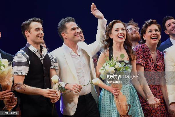 "Corey Cott, writer/director Andy Blankenbuehler, Laura Osnes and Beth Leavel during the ""Bandstand"" Broadway Opening Night Curtain Call at The..."