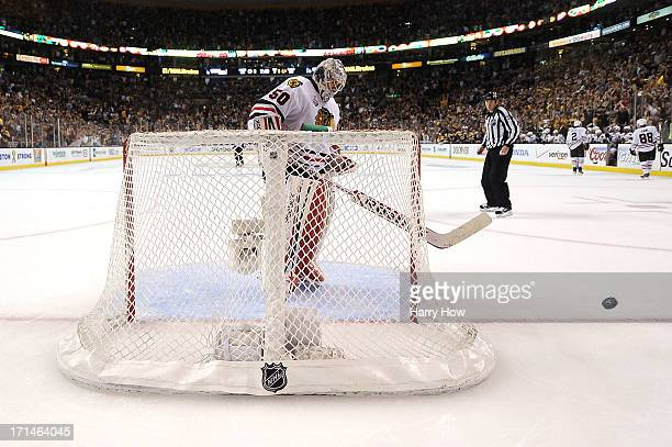 Corey Crawford and the Chicago Blackhawks celebrate their victory over the Boston Bruins in Game Six of the 2013 NHL Stanley Cup Final at TD Garden...