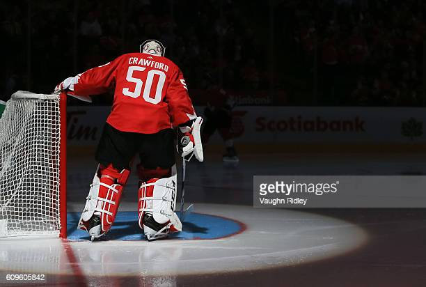 Corey Crawford of Team Canada prior to the game against Team Europe during the World Cup of Hockey 2016 at Air Canada Centre on September 21 2016 in...