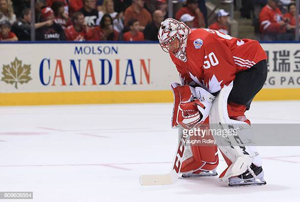 Corey Crawford of Team Canada takes a break between plays against Team Europe during the World Cup of Hockey 2016 at Air Canada Centre on September...