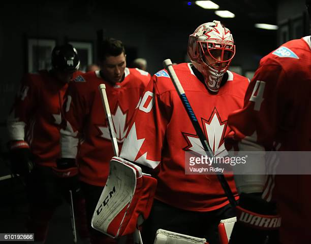 Corey Crawford of Team Canada takes to the ice for warm up prior to a game against Team Russia at the semifinal game during the World Cup of Hockey...
