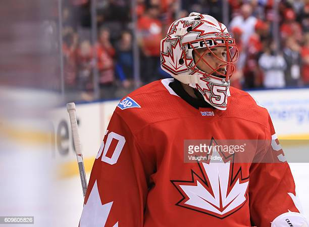 Corey Crawford of Team Canada warms up prior to a game against Team Europe during the World Cup of Hockey 2016 at Air Canada Centre on September 21...