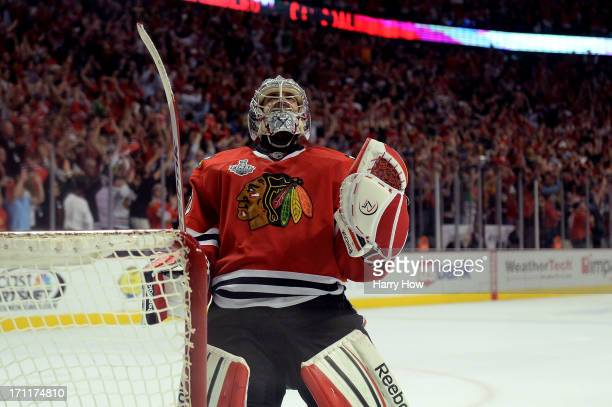 Corey Crawford of the Chicago Blackhawks celebrates after defeating the Boston Bruins in Game Five of the 2013 NHL Stanley Cup Final at United Center...