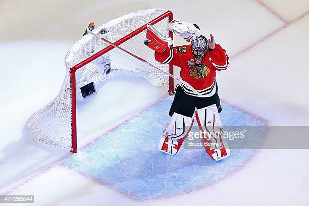 Corey Crawford of the Chicago Blackhawks celebrates after defeating the Tampa Bay Lightning by a score of 20 in Game Six to win the 2015 NHL Stanley...