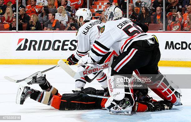 Corey Crawford of the Chicago Blackhawks defends the net against the Anaheim Ducks in Game Seven of the Western Conference Finals during the 2015 NHL...