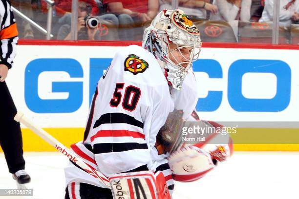 Corey Crawford of the Chicago Blackhawks makes a save against the Phoenix Coyotes in Game Five of the Western Conference Quarterfinals during the...