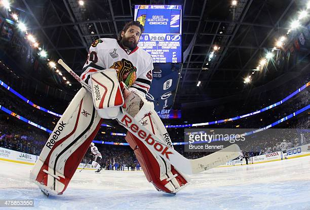 Corey Crawford of the Chicago Blackhawks prepares to tend net against the Tampa Bay Lightning in Game One of the 2015 NHL Stanley Cup Final at Amalie...