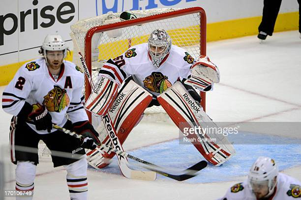 Corey Crawford of the Chicago Blackhawks stands in goal against the Los Angeles Kings in Game Three of the Western Conference Final during the 2013...