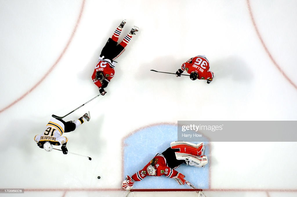 Corey Crawford #50 of the Chicago Blackhawks tends goal against the Boston Bruins in Game One of the 2013 NHL Stanley Cup Final at United Center on June 12, 2013 in Chicago, Illinois.