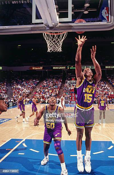 Corey Crowder of the Utah Jazz shoots against the Sacramento Kings circa 1992 at Arco Arena in Sacramento California NOTE TO USER User expressly...