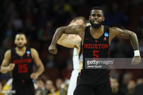Corey Davis Jr #5 of the Houston Cougars reacts as they take on the Michigan Wolverines in the second half during the second round of the 2018 NCAA...