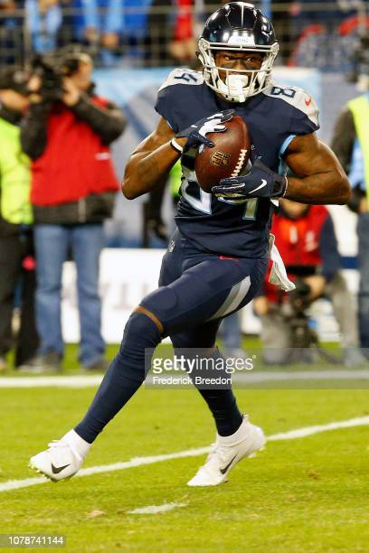 Corey Davis of the Tennessee Titans plays against the Jacksonville Jaguars at Nissan Stadium on December 6 2018 in Nashville Tennessee