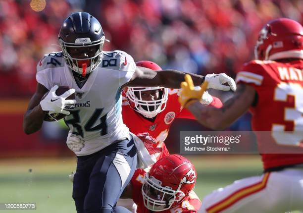 Corey Davis of the Tennessee Titans runs with the ball in the first quarter against the Kansas City Chiefs in the AFC Championship Game at Arrowhead...
