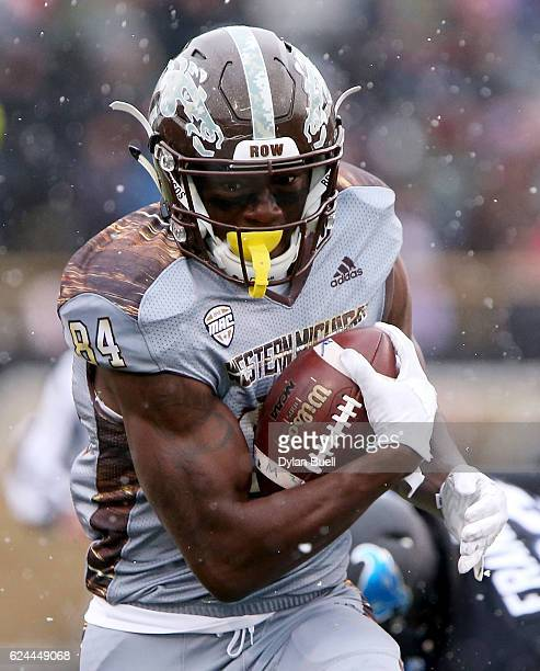 Corey Davis of the Western Michigan Broncos runs with the ball in the first quarter against the Buffalo Bulls at Waldo Stadium on November 19, 2016...