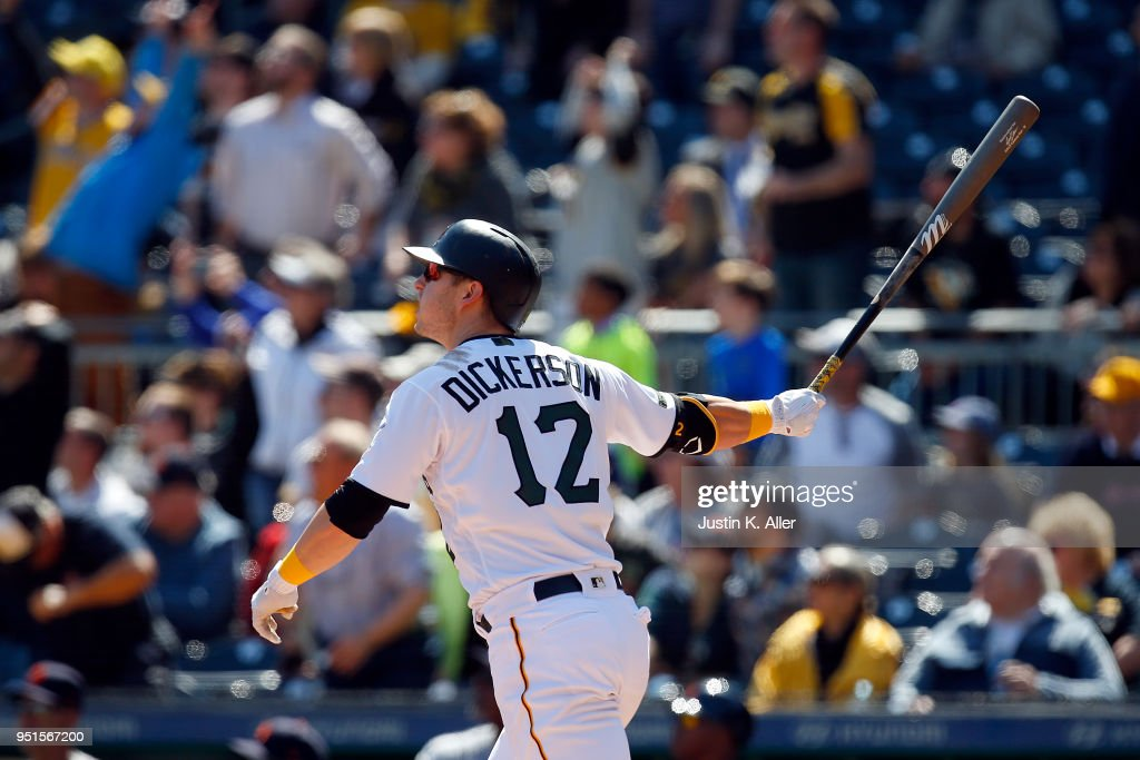Corey Dickerson #12 of the Pittsburgh Pirates hits a walk off home run in the ninth inning against the Detroit Tigers during interleague play at PNC Park on April 26, 2018 in Pittsburgh, Pennsylvania.