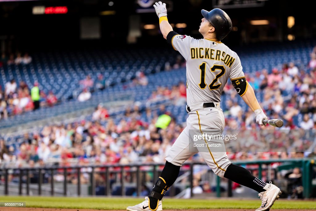 Corey Dickerson #12 of the Pittsburgh Pirates lines out against the Washington Nationals during the second inning at Nationals Park on May 1, 2018 in Washington, DC.