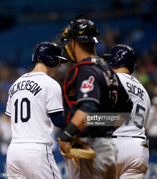 Corey Dickerson of the Tampa Bay Rays celebrates with teammate Jesus Sucre in front of catcher Yan Gomes of the Cleveland Indians after hitting a...