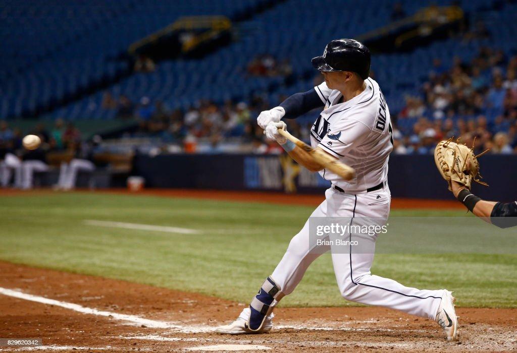Corey Dickerson #10 of the Tampa Bay Rays hits a three-run home run off of pitcher Nick Goody of the Cleveland Indians during the eighth inning of a game on August 10, 2017 at Tropicana Field in St. Petersburg, Florida.