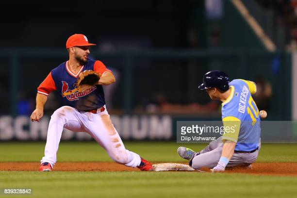 Corey Dickerson of the Tampa Bay Rays slides into second base against Paul DeJong of the St Louis Cardinals for a double in the eighth inning at...