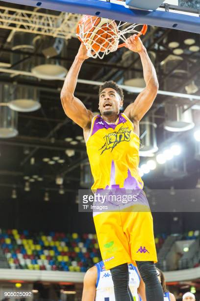 Corey Dixon of London Lions controls the ball during the British Basketball League match between London Lions and Cheshire Phoenix at Copper Box...