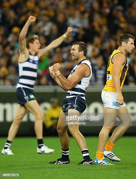 Corey Enright of the Cats celebrates kicking a goal during the round five AFL match between the Geelong Cats and the Hawthorn Hawks at Melbourne...