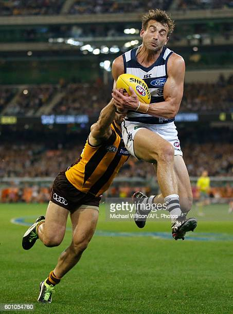 Corey Enright of the Cats marks ahead of Paul Puopolo of the Hawks during the 2016 AFL Second Qualifying Final match between the Geelong Cats and the...