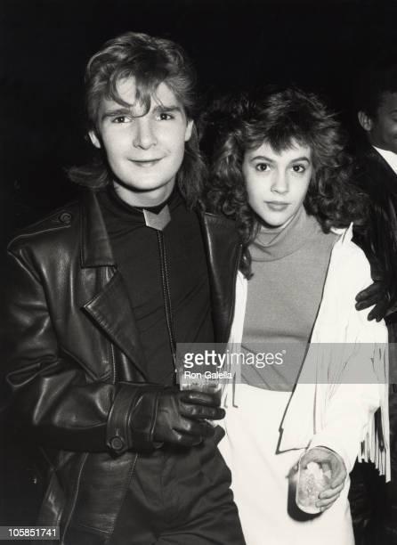 Corey Feldman and Alyssa Milano during 14th Annual American Music Awards at Shrine Auditorium in Los Angeles CA United States