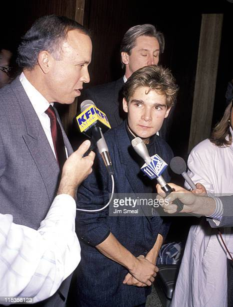 Corey Feldman and Attorney Richard Hirsch during Corey Feldman's Drug Possession Hearing April 4 1990 at Criminal Court Building in Los Angeles...