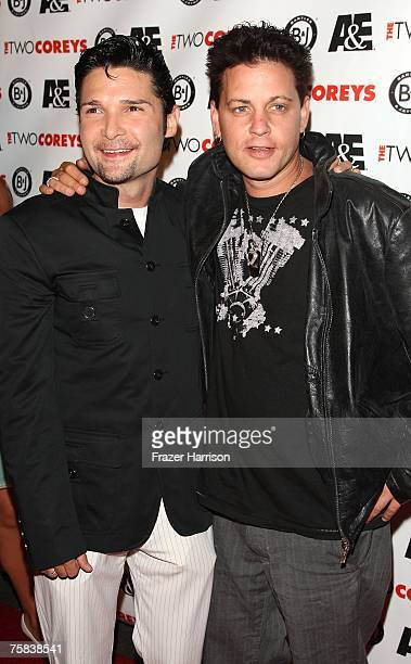 Corey Feldman and Corey Haim attend the AE Premiere Of 'The Two Coreys' held at Sugar nightclub on July 27 2007 in Hollywood California