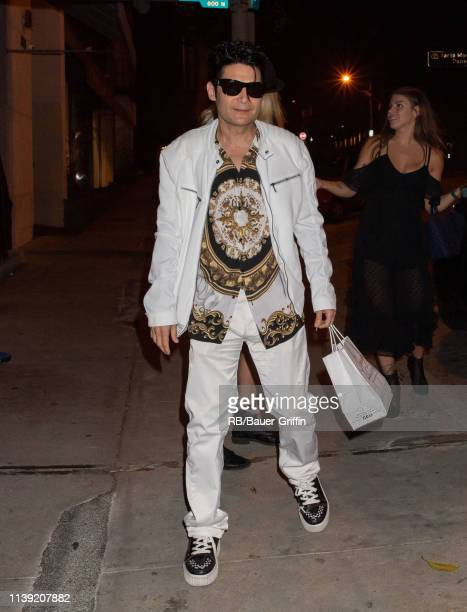 Corey Feldman and Courtney Anne Mitchell are seen at Craig's restaurant on April 25, 2019 in Los Angeles, California.