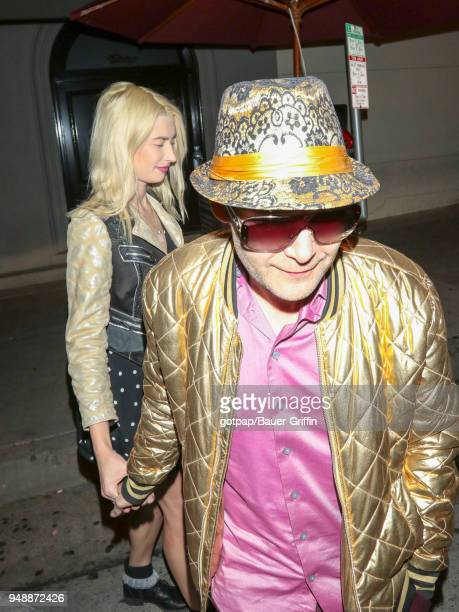 Corey Feldman and Courtney Anne Mitchell are seen on April 18 2018 in Los Angeles California